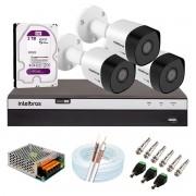 Kit 3 Câmeras de Segurança Full HD 1080p VHD 3230 B G6 + DVR Intelbras MHDX 3104 Full HD de 04 Canais + 1 HD Interno WD Purple 2TB + Acessórios