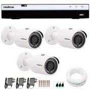 Kit 3 Câmeras de Segurança Full HD 1080p Intelbras VHD 3230 + DVR Intelbras Full HD 8 Ch + Acessórios