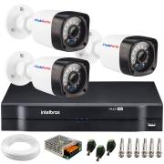 Kit 3 Câmeras de Segurança Full HD 1080p Lite 20 Metros Infravermelho + DVR Intelbras + HD + Cabos e Acessórios