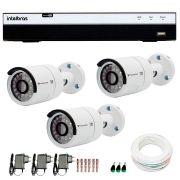 Kit 3 Câmeras de Segurança Full HD 1080p QCB 236 Tecvoz + DVR Intelbras Full HD + Acessórios