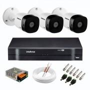 Kit 3 Câmeras de Segurança Full HD 1080p VHD 1220 B G6  + DVR Intelbras MHDX 1104 de 4 Canais 1080p Lite + Acessórios