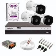 Kit 3 Câmeras de Segurança Full HD 1080p VHD 1220 B G6 + DVR Intelbras MHDX 3104 Full HD de 04 Canais + HD WD Purple 3TB + Acessórios