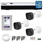 Kit 3 Câmeras de Segurança Full HD 1080p VHD 1220B IR + DVR Intelbras Full HD + HD WD Purple 1TB + Acessórios
