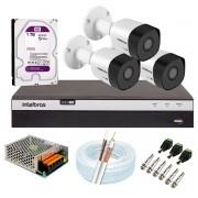 Kit 3 Câmeras de Segurança Full HD 1080p VHD 3230 B G6 + DVR Intelbras MHDX 3108 Full HD de 08 Canais + 1 HD Interno WD Purple 1TB Surveillance SATA III + Acessórios