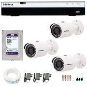 Kit 3 Câmeras de Segurança Full HD 1080p VHD 3230B G4 + DVR Intelbras Full HD + HD WD Purple 1TB + Acessórios