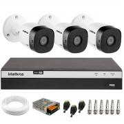 Kit 3 Câmeras de Segurança Full HD Intelbras VHD 1220 B G6 + DVR Intelbras Full HD MHDX 3108 + Acessórios