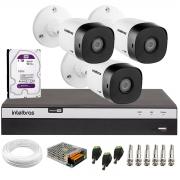 Kit 3 Câmeras de Segurança Full HD Intelbras VHD 1220 B G6 + DVR Intelbras Full HD MHDX 3108 + HD 1TB + Acessórios