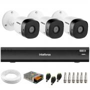 Kit 3 Câmeras de Segurança Full HD Intelbras VHD 1220 B G6 + Gravador de Vídeo Digital iMHDX 3004 com Reconhecimento Facial 4 Canais + Acessórios
