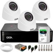 Kit 3 Câmeras de Segurança HD 720p Giga GS0019 Orion + DVR Giga Security + HD 1 TB + Acessórios