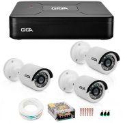 Kit 3 Câmeras de Segurança HD 720p Giga Security GS0013  + DVR Giga Security Multi HD + Acessórios