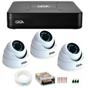 Kit 3 Câmeras de Segurança HD 720p Giga Security GS0015  + DVR Giga Security Multi HD + Acessórios