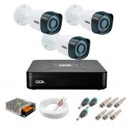 Kit 3 Câmeras de Segurança HD 720p Giga Security GS0018 + DVR Giga Security Multi HD + Acessórios