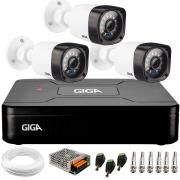 Kit 3 Câmeras de Segurança HD 720p Giga Security GS0020 + DVR Giga Security + Acessórios