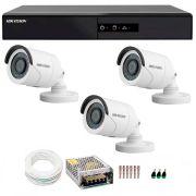 Kit 3 Câmeras de Segurança HD 720p Hikvision 10 metros + DVR Hikvision + Acessórios