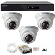 Kit 3 Câmeras de Segurança HD 720p Hikvision Dome 20 metros + DVR Hikvision + Acessórios