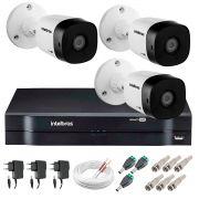 Kit 3 Câmeras VHD 1120 B G5 + DVR Intelbras + App Grátis de Monitoramento, Câmeras HD 720p 20m Infravermelho de Visão Noturna Intelbras + Fonte, Cabos e Acessórios