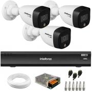 Kit 3 Câmeras de Segurança VHD 1220 B Full Color Full HD 1080p + Gravador de Vídeo Digital iMHDX 3004 com Reconhecimento Facial 4 Canais + Acessórios