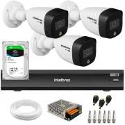 Kit 3 Câmeras de Segurança VHD 1220 B Full Color Full HD 1080p + Gravador de Vídeo Digital iMHDX 3004 com Reconhecimento Facial 4 Canais + HD 1TB