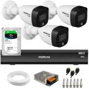 Kit 3 Câmeras de Segurança VHD 1220 B Full Color Full HD 1080p + Gravador de Vídeo Digital iMHDX 3004 com Reconhecimento Facial 4 Canais + HD 2TB