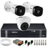 Kit 3 Câmeras de Segurança VHD 1010 Dome + VHD 1010 Bullet, HD 720p 1MP - Lente 3.6 mm + DVR MHDX 1104 + APP Grátis de Monitoramento