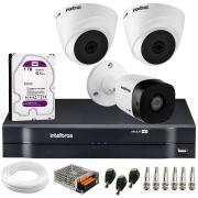Kit 3 Câmeras de Segurança VHD 1010 Dome + VHD 1010 Bullet, HD 720p 1MP - Lente 3.6 mm + DVR MHDX 1104 + HD 1TB Purple + APP Grátis de Monitoramento