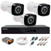 Kit 3 Câmeras + DVR Hikvision + App de Monitoramento, Câmeras Full HD 1080 Lite 25m Infravermelho de Visão Noturna Tudo Forte Completo com Acessórios