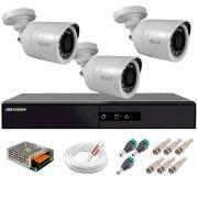Kit 3 Câmeras + DVR Hikvision + Fonte, Cabos e Acessórios - Câmeras Hilook THC B120C-P Full HD 1080 Lite 20m Infra e Visão Noturna