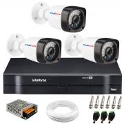 Kit 3 Câmeras HD 720p 20m Infravermelho de Visão Noturna + DVR Intelbras + App Grátis de Monitoramento + Fonte, Cabos e Acessórios
