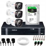 Kit 03 Câmeras HD 720p 20m Infravermelho de Visão Noturna + DVR Intelbras + HD 1 TB + App Grátis de Monitoramento + Fonte, Cabos e Acessórios
