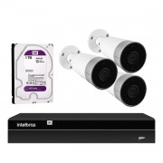 Kit 3 Câmeras Externas Wi-Fi Mibo Full HD 1080p IM5 Intelbras + 1 NVR Stand Alone 04 Canais 6MP NVD 1304 Intelbras + 1 HD Interno WD Purple 1TB Surveillance SATA III