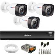 Kit 3 Câmeras Full HD 1080p 20m Infravermelho de Visão Noturna + Gravador de Vídeo Digital iMHDX 3004 com Reconhecimento Facial 4 Canais + Acessórios