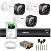 Kit 3 Câmeras Full HD 1080p 20m Infravermelho de Visão Noturna + Gravador de Vídeo Digital iMHDX 3004 com Reconhecimento Facial 4 Canais + Hd 2TB