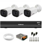 Kit 3 Câmeras Intelbras Varifocal Multi HD VHD 3240 VF G6 IP67 IR 40m + Gravador de Vídeo Digital iMHDX 3004 com Reconhecimento Facial 4 Canais + Acessórios