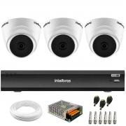 Kit 3 Câmeras Intelbras VHD 1220 D G6 20m, Full HD 1080p Lente 2,8 mm + Gravador de Vídeo Digital iMHDX 3004 com Reconhecimento Facial 4 Canais + Acessórios