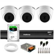 Kit 3 Câmeras Intelbras VHD 1220 D G6 20m, Full HD 1080p Lente 2,8 mm + Gravador de Vídeo Digital iMHDX 3004 com Reconhecimento Facial 4 Canais + Hd 1TB