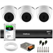 Kit 3 Câmeras Intelbras VHD 1220 D G6 20m, Full HD 1080p Lente 2,8 mm + Gravador de Vídeo Digital iMHDX 3004 com Reconhecimento Facial 4 Canais + Hd 2TB