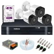 Kit 3 Câmeras Intelbras VHD 3230 B G6 Full HD 1080 Lite + DVR Intelbras + Acessórios Completo - Câmeras com 30m Infravermelho de Visão Noturna