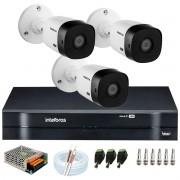 Kit 3 Câmeras Intelbras VHL 1220 B Full HD 1080 Lite + DVR Intelbras + Acessórios Completo - Câmeras com 20m Infravermelho de Visão Noturna