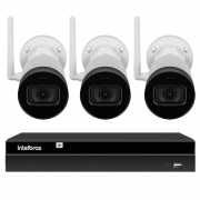 Kit 3 Câmeras IP Wifi Bullet Intelbras VIP 1230 W - 2Mp Sensor 1/2.7 Lente 3.6mm 30m IR IP67 + Gravador Digital de Vídeo NVR NVD 1404 - 4 Canais Intelbras
