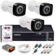 Kit 3 Câmeras Tudo Forte Full HD 1080 Lite + DVR Intelbras + Acessórios Completo - Câmeras com 25m Infravermelho de Visão Noturna