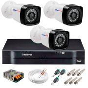 Kit 3 Câmeras Tudo Forte Full HD 1080 Lite + DVR Intelbras - Câmeras com 25m Infravermelho de Visão Noturna + Fonte, Cabos e Acessórios