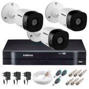 Kit 3 Câmeras VHD 1010 B G5 + DVR Intelbras + App Grátis de Monitoramento, Câmeras HD 720p 10m Infravermelho de Visão Noturna Intelbras + Fonte, Cabos e Acessórios