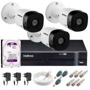 Kit 3 Câmeras VHD 1010 B G5 + DVR Intelbras + HD 1TB para Armazenamento + App Grátis de Monitoramento, Câmeras HD 720p 10m Infravermelho de Visão Noturna Intelbras + Fonte, Cabos e Acessórios