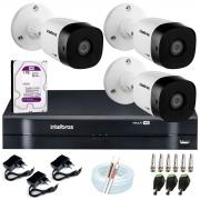 Kit 3 Câmeras VHD 1010 B G6 + DVR Intelbras + HD 1TB para Armazenamento + App Grátis de Monitoramento, Câmeras HD 720p 10m Infravermelho de Visão Noturna Intelbras + Fonte, Cabos e Acessórios