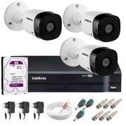 Kit 3 Câmeras VHD 1120 B G5 + DVR Intelbras + HD 1TB para Armazenamento + App Grátis de Monitoramento, Câmeras HD 720p 20m Infravermelho de Visão Noturna Intelbras + Fonte, Cabos e Acessórios