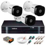Kit 3 Câmeras VHD 3120 B G5 + DVR Intelbras + App Grátis de Monitoramento, Câmeras HD 720p 20m Infravermelho de Visão Noturna Intelbras + Fonte, Cabos e Acessórios