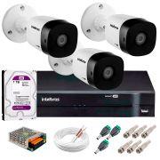 Kit 3 Câmeras VHD 3120 B G5 + DVR Intelbras + HD 1TB para Armazenamento + App Grátis de Monitoramento, Câmeras HD 720p 20m Infravermelho de Visão Noturna Intelbras + Fonte, Cabos e Acessórios