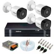 Kit 3 Câmeras VHD 3120 B G6 + DVR Intelbras + App Grátis de Monitoramento, Câmeras HD 720p 20m Infravermelho de Visão Noturna Intelbras + Fonte, Cabos e Acessórios