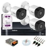 Kit 3 Câmeras VHD 3120 B G6 + DVR Intelbras + HD 1TB para Armazenamento + App Grátis de Monitoramento, Câmeras HD 720p 20m Infravermelho de Visão Noturna Intelbras + Fonte, Cabos e Acessórios
