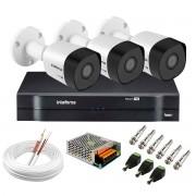 Kit 3 Câmeras VHD 3130 B G6 + DVR Intelbras + App Grátis de Monitoramento, Câmeras HD 720p 30m Infravermelho de Visão Noturna Intelbras + Fonte, Cabos e Acessórios